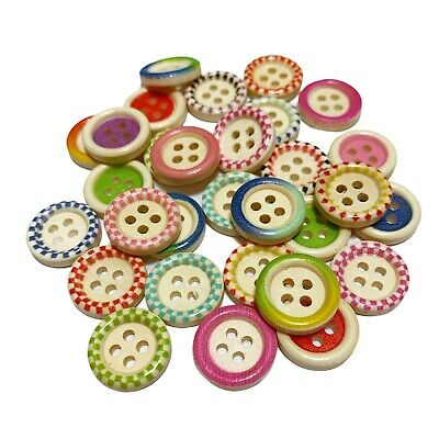 100 15mm WOODEN BUTTONS - MIXED DESIGNS - CRAFT - SCRAPBOOK - SEW - CARDMAKING