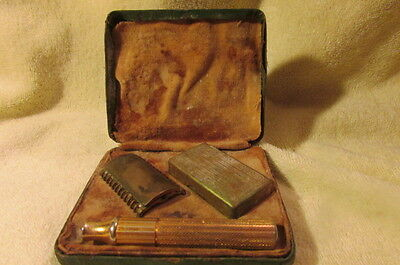 Rare Vintage Gillette Gold Tone Safety Razor In Metal Case With Leather Cover