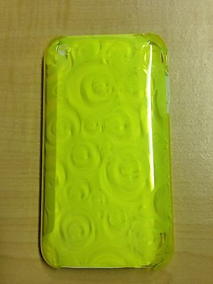 Apple iPhone 3G 3GS Lemon Green Spiral Plastic Case Hard Cover / LCD Protector