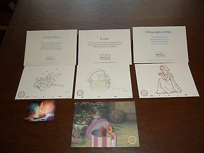 Walt Disney Collector Society Tinker Bell, Snow White, Lady and the Tramp prints
