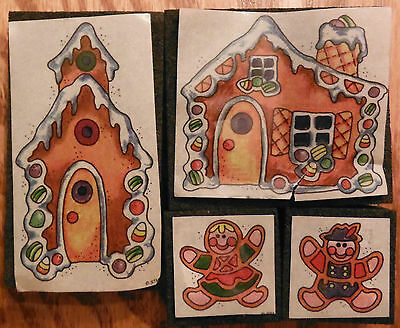 """Lot of 4 """"Gingerbread House"""" Rubber Stamps - largest 1 3/4"""" x 3"""""""