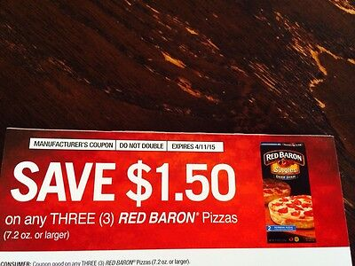 5) Save $1.5 On Any 3 Red Baron Pizzas (7.2oz Or Larger) Exp:4/11/15