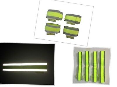 Set of 4 high visibility reflective hook and loop safety bands, horse riding