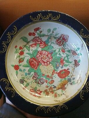 Vintage Action Industries Brazil Metal Bowl Red Blue Green Gold Floral
