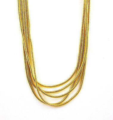 Wholesale Lots 5Pcs Gold Tone 1mm Snake Chain Necklace 24 inches