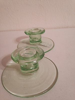 Green depression vaseline glass candle holders  set of two