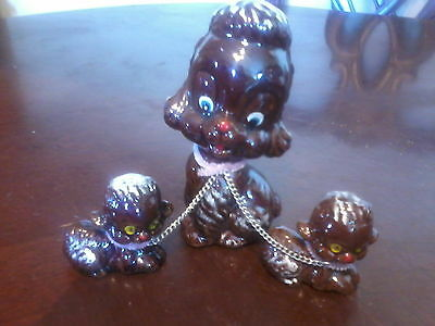 """vintage 5"""" tall porcelain brown mama dog with 2 pups on chains figurine"""