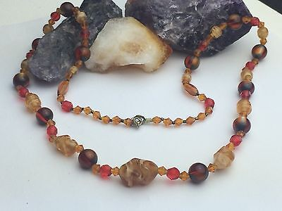 VTG Mid-Century Brown Swirl Red Cut Glass &Lucite Ball Bead Necklace Retro Chain