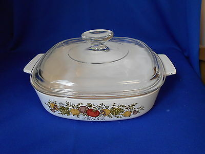 """Corning Ware SPICE OF LIFE Oven ware A-2-B 8 1/2"""" x 2 1/2"""" Pyrex lid 2 quart"""