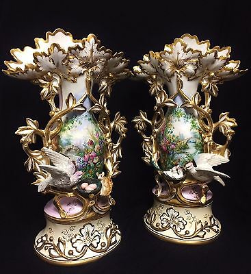 Extremely Rare French Antique Old Paris Porcelain Gold Rimmed Vases