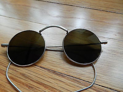 ANTIQUE WILLSON WIRE RIM DARK SUNGLASSES-CHILD'S OR VERY SMALL-STEAMPUNK!