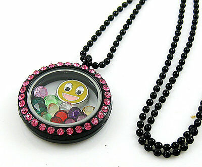 Gift Living Floating Charm Memory red-crystal round Black Locket Necklace B01