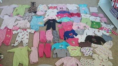Huge lot of baby girl clothes newborn to 3 months sleepers onsies pants 89 piece