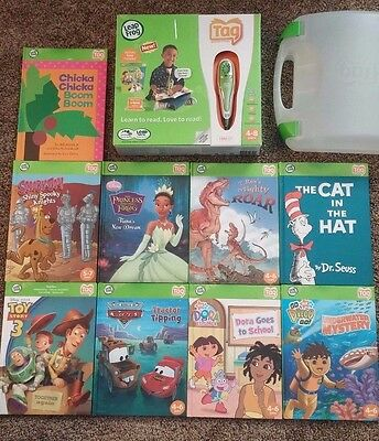 Leap Frog Tag Learning System w/ 9 books and Plastic Case