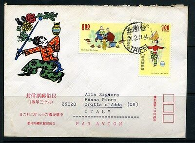 Taiwan Illustrated Letter / Cover to Italy 1974 Folklore