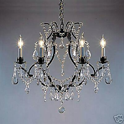 6 LIGHT CRYSTAL AND BLACK METAL OR WROUGHT IRON CHANDELIER DINING ROOM BEDROOM