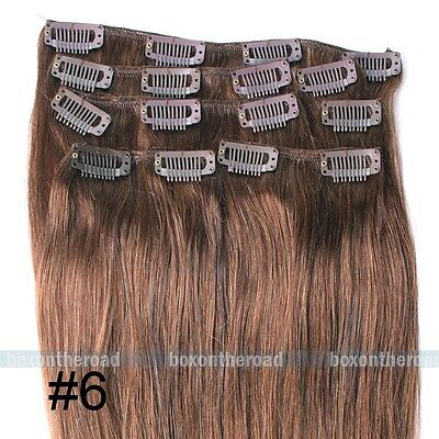 """""""20 7PCS Clip In Remy Human Hair Extensions Full Head 70g  #6"""