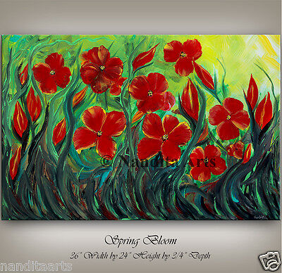 ABSTRACT OIL PAINTING Flower large modern art original signed by Artist Nandita