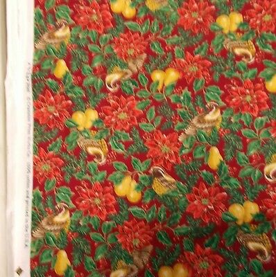 """2 2/3 yds x 44"""" VIP Cranston 100% Cotton Sewing Fabric Lot - Red wt. Christmas"""