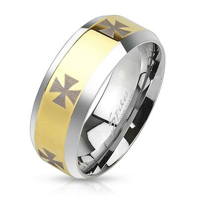 New Size 10 Silver/Gold Stainless Steel 2-Tone Men's Iron Cross Band Ring(3658a)