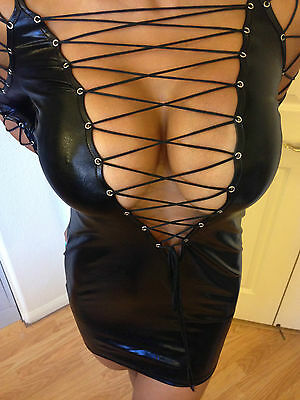 Sexy Bodycon Clubwear Dominatrix Mini Dress Wet Leather w/ corset lacing Small