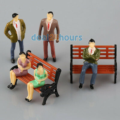 100 Painted 1:50 Model People Passenger Figures + 5 Park Bench Scenery 1:75