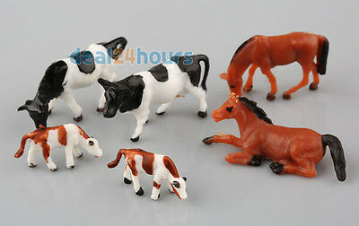 Lot 20pcs  Ho scale animals 1:87 for Model train layout ( Cow Horse) New