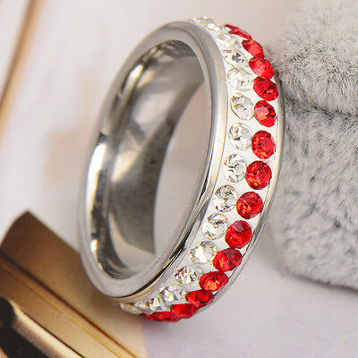 Hot Sweetie White Stainless Steel  White Red CZ Women's    Rings Sz7# X0178