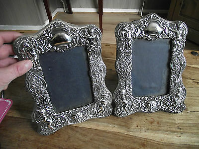 Pair of sterling silver photo picture frames Cherubs angels Greenman
