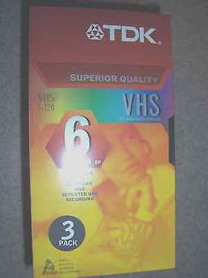 TDK (Lot of 3  NIB) VHS T-120 VCR Video Cassette Tapes Superior Quality (6 hrs.)