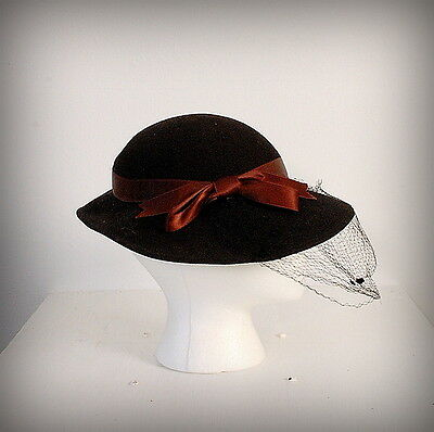 Vtg 30's Brown Wool Hat with Netting