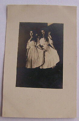 RPPC Antique Photo Postcard Circa 1910 Twins Or Sisters Holding Their Dresses
