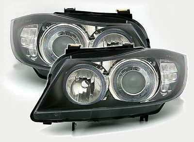 Bmw 3 Series E90 Saloon 2005-2007 Black Angel Eyes Headlights Led Indicators Pr