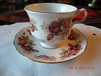 Queen Anne Cup and Saucer Red and Pink Roses Bone China Made in England