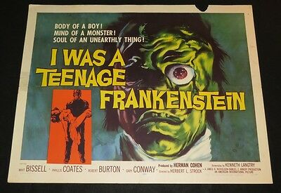 I WAS A TEENAGE FRANKENSTEIN (1958) CLASSIC AIP MONSTER HALF-SHEET - VG+!