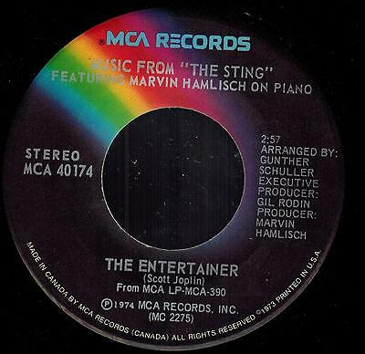 """Marvin Hamlisch - The Entertainer / Solace - Music From """"The Sting"""" 45 rpm 1974"""