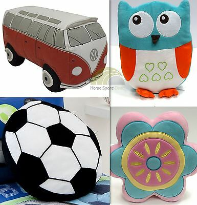 Fun Shaped Filled Cushions Childrens Soft Owl Campervan Football Or Flower New