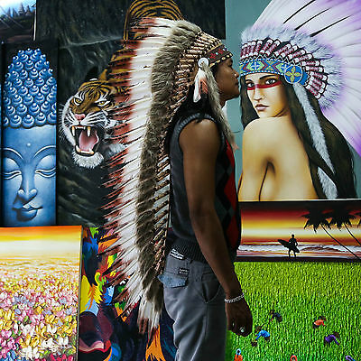 Indian Headdress/ Native American Chief Costume - 125cm Real Feather War Bonnet