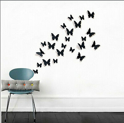 12 pcs Black 3D DIY Wall Sticker Stickers Butterfly Home Decor Room Decorations