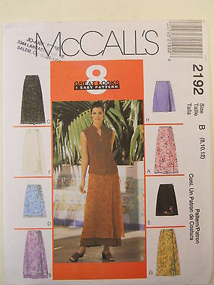 McCalls Sewing Pattern 2192 Misses Wrap Skirts in Two Lengths in Size 8-12