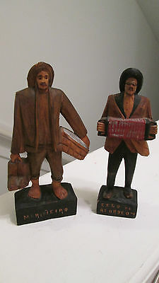 "VINTAGE HAND CARVED WOODEN  MERINEIRO & CEGO-DO ACORDEON  FIGURINE 6 "" TALL"