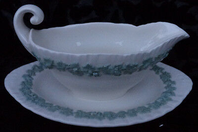 WEDGWOOD EMBOSSED QUEEN'S WARE CELADON GREEN ON CREAM GRAVY BOAT WITH UNDERPLATE