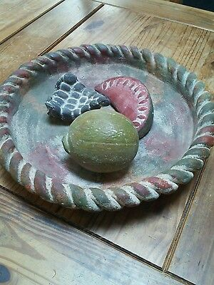 Mexican Terra Cotta Pottery Platter with Fruit