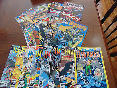 DC HAWKWORLD AND HAWKMAN COMIC BOOKS--LOT OF 23