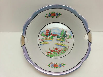 Vintage Lusterware Serving Bowl Japan Hand Painted with Cutouts Asian Oriental