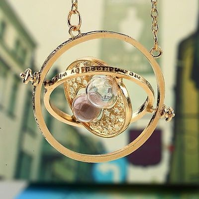 Harry Potter Hermione Granger TIME TURNER Hourglass Pendant Necklace Gold Plated