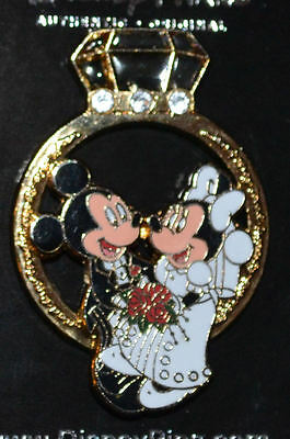 Disney 3-D Mickey & Minnie Wedding Engagement Ring Collector Pin – US Seller