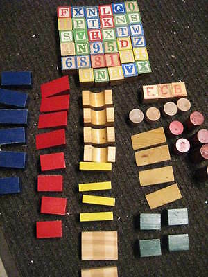 Lot of 80  Vintage Childrens Wood Blocks ABC and  Shapes