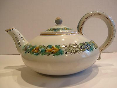 Vintage Cantagalli Italian Faience Large Teapot, Della Robia with Rooster Mark