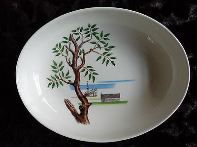 "SANTA ANITA WARE EARLY AMERICAN, MODERN AMERICANA OVAL SERVING BOWL 10""6/8X8""3/8"